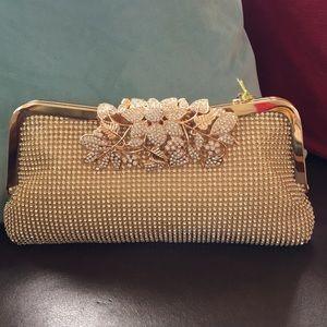 Rhinestone Crystal Gold Floral Clutch Purse Bag